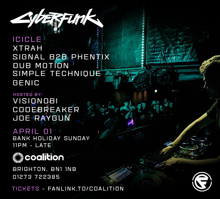 Cyberfunk w/ Xtrah, Signal, Phentix, Dub Motion, Simple Technique. Mc's Visionobi, Codebreaker and Joe Raygun -  (Cyberfunk_010418_SpecialEventBanner.png)